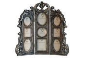VICTORIA - 9 Aperture Ornate Folding Collage Photo Frame - Antique Silver