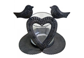 CHIRPY - Metal and Glass Single Tea light / Heart Candle Holder - Black