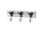 CHEEP - Wall Mounted 3 Hook Coat / Towel Rack - White / Black / Brown