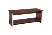 COLUMN - Coffee Table with Storage Shelf - Walnut / Silver