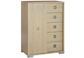TEMPLE - Chest Of 5 Drawers With Sliding Door Storage Unit - Light Oak