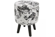 BLACK ROSE - Contemporary Round Padded Storage Stool - Black / White