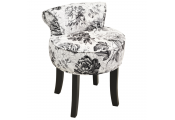 BLACK ROSE - Stool / Low Back Padded Dressing Chair with Wood Legs - Black / White