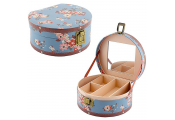 KATHY - Flower Floral Rose Theme Round Jewellery Box - Blue / Pink