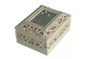 FRETWORK - Swirl Detail Trinket / Storage Box with Glass Lid - Cream