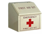 MEDIC - Traditional First Aid Kit Box with Angled Lid - Cream / Red