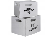 ORGANISE - Wooden Slogan Storage Boxes - Set of 2 - White