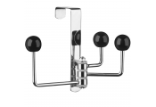 SPUTNIK - 3 Hook Over Door Coat / Towel Hanging Hooks - Silver / Black