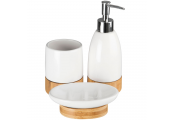 EARTH - Bamboo and Ceramic Bathroom Soap /Tumbler Set  - White / Brown