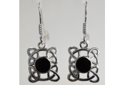 WHITBY JET - Sterling Silver Celtic Knot Earrings - Black / Silver