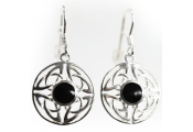 WHITBY JET - Sterling Silver Celtic Circle Earrings - Black / Silver