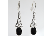 WHITBY JET - Sterling Silver Celtic Oval Drop Earrings - Black / Silver