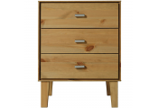 ANGLE - Solid Wood 3 Drawer Storage Chest / Bedside Table / Nightstand - Oak