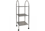 ATHENA - 3 Tier Metal Bathroom Storage Shelves / Trolley with Castors - Silver