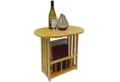 HAUGHTON - Swivel Top Side / End Table with Storage Rack - Natural