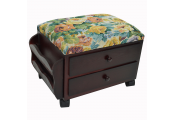 ATESSA - Padded Footstool / Sewing Box with Drawers and Tidy Rack - Mahogany