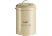 CLEVER CAT - Metal Feline Food / Treat Jar / Container - Cream