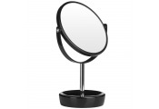 MUSE - Round Free Standing Swivel Silver Chrome Bathroom / Make Up Mirror - Black