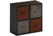 INDUSTRIAL CHIC - Metal Compact Set of 4 Storage Drawers - Black / Grey / Red