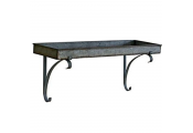BRUNEL - Wall Mounted Industrial Metal Tray Shelf with Brackets - Grey
