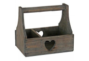 HEART - Solid Wood 2 Section Storage Trug / Display Basket - Brown