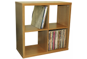 CUBE - 4 Cubby Square Display Shelves / Vinyl LP Record Storage - Oak