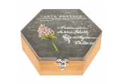 FRENCH - Carte Postale Shabby Chic Hexagonal Storage Box - Grey/Brown