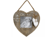 HEART - Solid Wood Hanging Single Square Photo Frame - Natural