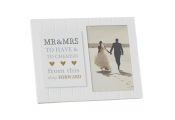 MR AND MRS - Wooden Panelled Single Free Standing Wedding Photo Frame - White