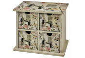 LONDONI - Shabby Chic Mini Chest of 4 Storage Drawers - Beige / Black