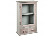 FARMHOUSE - Mini Glass Door Shabby Chic Wall Storage Cabinet - Beige / Brown