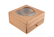 HEART - Solid Wood Jewellery Box / Storage / Display - Brown / Cream