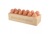 EGG STATION - Solid Wood Egg Storage Rack for 12 Eggs - Natural