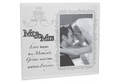 MR AND MRS - Mirrored Wedding / Marriage Single 4x6 Photo Frame - Silver