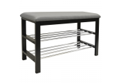 STATIC - 2 Tier Shoe Storage Hallway Bench with Padded Seat - Black / Grey
