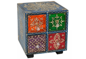 INDIAN - 4 Drawer Square Painted Mini Storage Chest - Blue / Red / Green