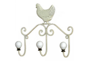CHICKEN - Wall Mounted Metal 3 Coat / Towel Storage Hooks - Antique Cream