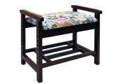 BURLINGTON - Adjustable Height Shoe Storage Bench with Padded Seat - Dark Wood