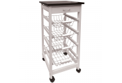 MCKINLEY - Wood 5 Drawer Kitchen Storage Trolley / Island - White / Silver