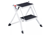 MONROE - 2 Rung Non Slip Folding Metal Step Ladder - White / Black