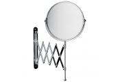 TELESCOPIC - Wall Mounted Round Shaving Mirror with Magnifier - Chrome
