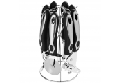 GADGETS - Complete Set of 6 Kitchen Utensils and Metal Stand - Black / Silver