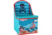 PIRATE - Childrens Seaside Storage Toy Box / Cube Seat - Blue / Red