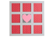 COLLAGE - Heart Wall Mounted  8 Photo Square Picture Frame - White / Pink