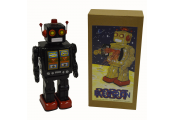 ROTATING ROBOT- Retro Tin Collectable Walking with Guns - Black