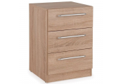 CONTEMPORARY - 3 Drawer Bedside Storage Chest / End / Side Table / Nightstand - Oak