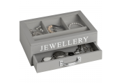 KEEP - Jewellery Storage Box with Drawer and Clear Lift Up Lid - Grey / White
