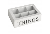 THINGS - Storage / Jewellery Box with Glass Lid and 6 Compartments - White
