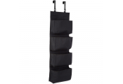OVERDOOR - Hanging 4 Compartment Fabric Storage Organiser - Black