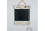 SEASIDE - Driftwood Wall Hanging Blackboard / Chalkboard with Fish - White / Brown / Black